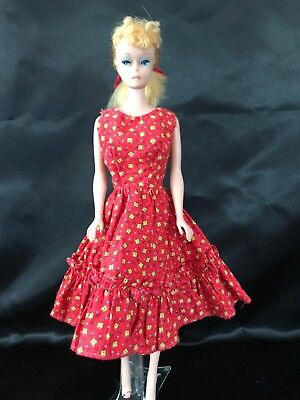 1960s Barbie Clone Outfit #8 Red/Yellow Calico Dress & Starlet Dot Snaps