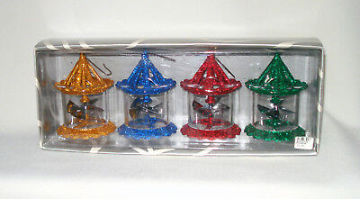 4 Vtg Department Dept 56 Christmas Tree Spinner Twinkle Ornaments New In Box Nib