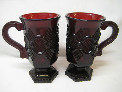 """Lot of 2 AVON 1876 CAPE COD Ruby Red Glass Pedestal Coffee Mugs, Cups, 5"""" Tall"""
