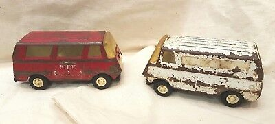 Vintage 1960's Tonka Red Fire Chief Van and white ambulance Metal