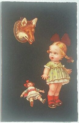 Italian Art Deco, Little Girl with Doll and Fox, by Colombo (?), c. 1930