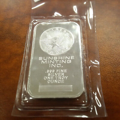 1 One Troy Ounce Oz. Sunshine Minting Silver Bar Bullion .999 Fine Silver