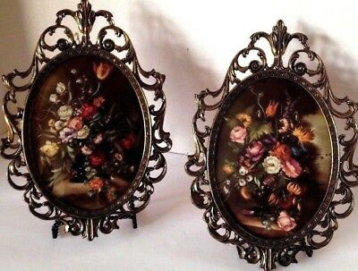 Home Interiors Floral Pictures In Convex Glass Frames~ Pair Of Two
