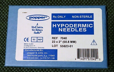 "ONE DOZEN (12) Popper Hypodermic Needles 7040 Rx Only 23 x 2"" (50.8MM) SEALED!"