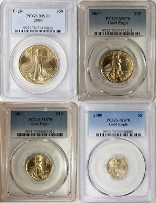2000 Gold Eagle $50 $25 $10 $5 Pcgs Ms70 4 Coin Set Pop Only 12 Sets