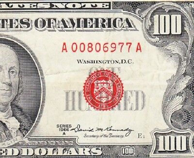 VERY NICE Bold & Crisp VF 1966 A $100 Red Seal US Note! FREE SHIPPING! A00806977
