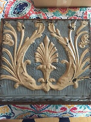 Antique Tin Ceiling Tiles mounted for wall hanging ivory & blue app 18 x 16 1/2