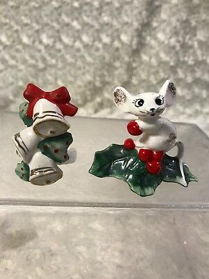 Vintage Holt Howard Mouse And Bells Candle Holder 1958 Christmas Collectible