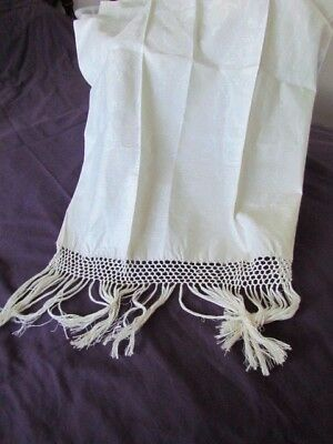 Antique Italian Linen Damask Bath show Kitchen Towel Vintage new Fringe Cream