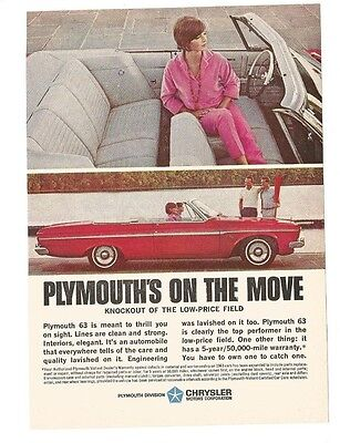 Vintage Magazine Print Ad 1963 PLYMOUTH Red Convertible Car 5 1/4 W X 7 1/2 H Gd