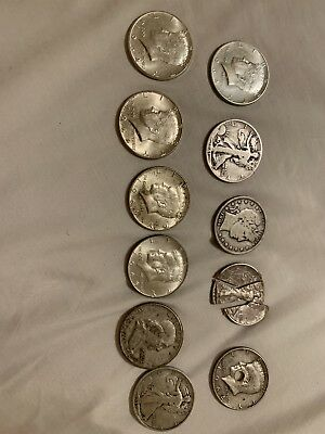 Mixed Lot 11 Silver Half Dollars 90% Silver Franklin, Walking Liberty, Kennedy,