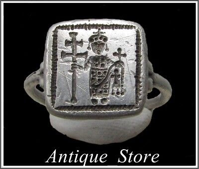 Ancient Silver Byzantine Ring **  CONSTANS II ** WOW**
