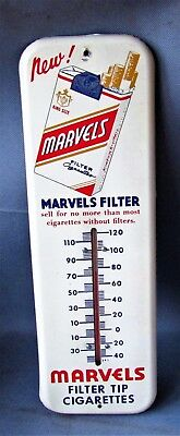 Vintage Marvels Cigarettes Tin Advertising Thermometer, Working Order