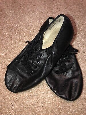 Girls Jazz shoes LEATHER SPLITSOLE BLACK Girls DANCE Lace Up  Size 1