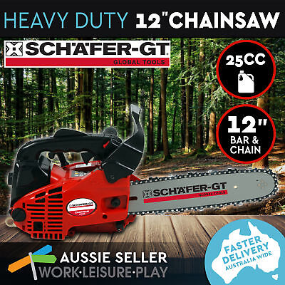 "Chainsaw Commercial Gas 25cc 12"" Bar Tree Chain Saw Arborist Pruning E-Start"