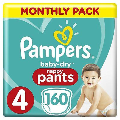 Pampers Baby Dry Size 4 Nappy Pants Pull Ups Saving Pack of 160 Nappies 8-14 kg