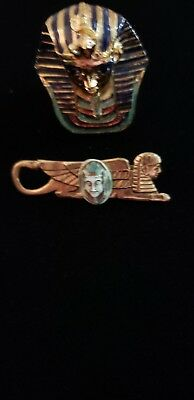 Vintage Egyptian Revival Pharaoh Sphinx Czech Glass Brooch