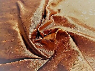 "SILK SHANTUNG~MICRO JACQUARD VINE DESIGN~SHADES OF COPPER~9""x27""~DOLL FABRIC"