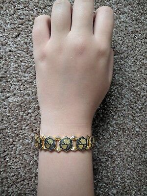 Japanese Shakudo bracelet with gold and Shakudo metal inlay circa 1700