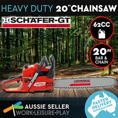 Petrol Chainsaw Fuel Commercial 62cc 20 Bar Tree Log Chain Saw Arborist Pruning