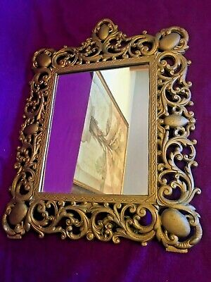 Mirror Ornate Cast Metal Iron Frame Art Vintage Brass Gold Tone Table Wall 17x13