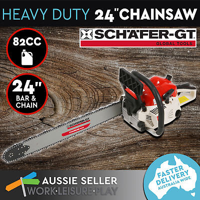 Chainsaw Gas Petrol 82cc 24 inch Bar Tree Log Chain Saw Arborist Pruning Garden