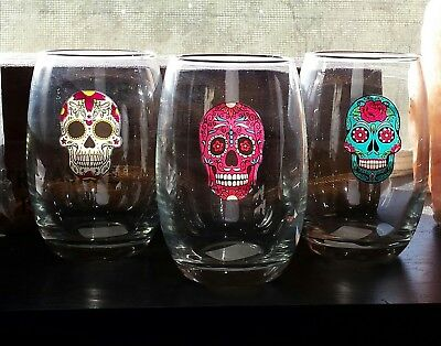Sugar Skull stemless Wine Glasses Candy Skull Dia de los Muertos Halloween