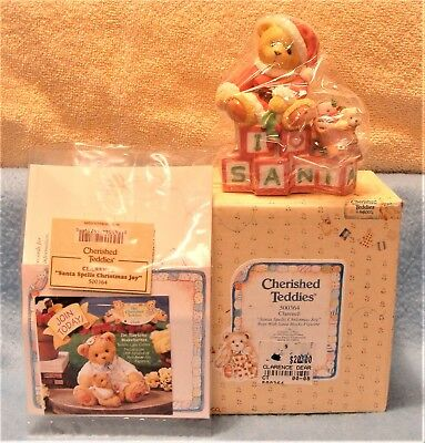 VINTAGE ENESCO CHERISHED TEDDIES SANTA 1998 CLARENCE MINT IN BOX with PAPERS