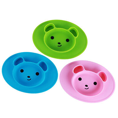Baby Silicone Bear Shaped Plate Mat Suction Tray Non-slip Green Placemat KL