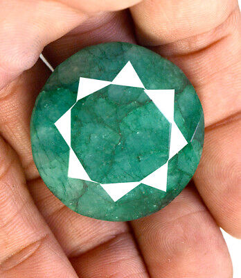 151ct Natural Faceted Round Shape Green Emerald Loose Gemstone Pendant Jewelry