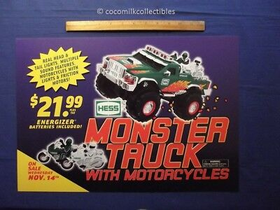 2007 Hess Monster Toy Truck Sign Advertising For front Gas Pump Motorcycle 4 x 4