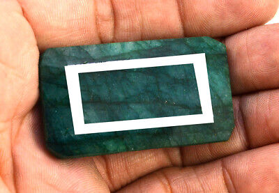 139ct Natural Faceted Rectagular Green Emerald Loose Gemstone Pendant Jewelry