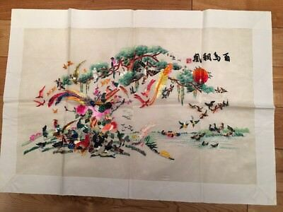 Large Beautiful Chinese Embroidery On Silk Of Variety Of Colourful Birds NEW VGC