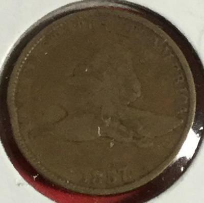 1857 US Flying Eagle Cent FINE! Old US Coin!