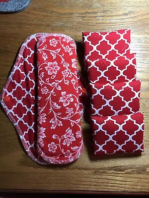 Set/6 Reusable Menstrual Pads (Red Quatrefoile) NWOT Momma Cloth