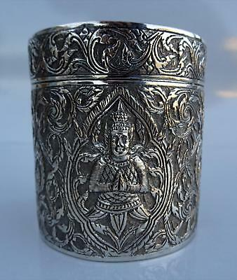 JAPANESE PURE SILVER Round LIDDED CANISTER BOX w/FIGURES TEA/SPICE VTG JUNGIN
