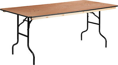 36'' x 72'' Rectangular Wood Folding Banquet Table w/ Clear Coated Finished Top
