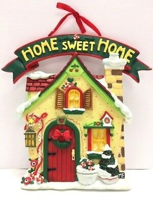 "Mary Engelbreit Christmas HOME SWEET HOME Stone Plaque Wall Hanging 8-1/2"" x 8"""