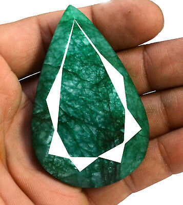 260ct Natural Faceted Pear Green Emerald Loose Gemstone for Pendant Jewelry