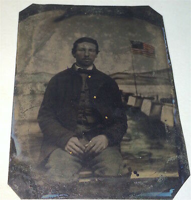 Rare Antique American Civil War Union Soldier Flag / Camp Backdrop Tintype Photo