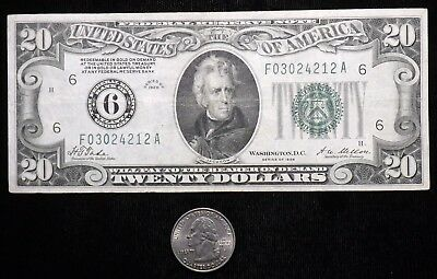 1928 $20 Dollar  REDEEM IN GOLD  Paper Note   Circulated