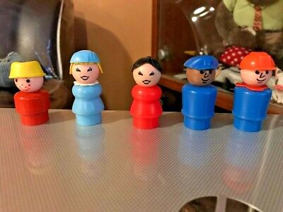 Lot Of 5 Vintage Fisher Price Little People  Nice Mix