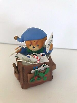 Vtg Enesco Teddy Bear Mailman Delivery Bag Lucy Rigg Christmas Ornament Lucy&Me