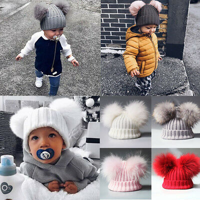 AU Newborn Baby Girls Knit Wool Pom Bobble Plush Hat Winter Warm Beanie Caps
