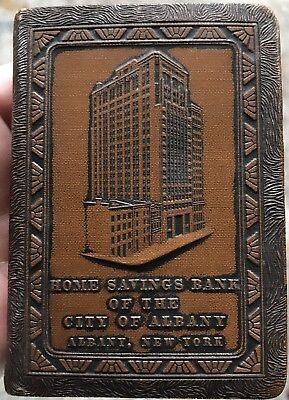 Vtg Leather Covered Book Coin Bank Home Savings Bank City Of Albany NY W/key