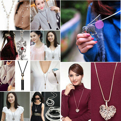 33 Types Fashion Jewelry Crystal Opal Tassel Pendant Chain Sweater Long Necklace