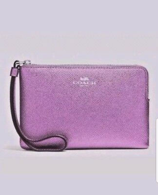 NWT Coach Metallic Lilac Corner Zip Wristlet Leather Authentic F21070