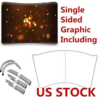 8ft Curved Portable Tension Fabric Exhibition Stand Backdrop Banner with Graphic
