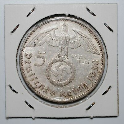 1938-E NAZI HINDENBURG 5 Mark .900 SILVER COIN-German WW2 GERMANY 5 ReichsMark