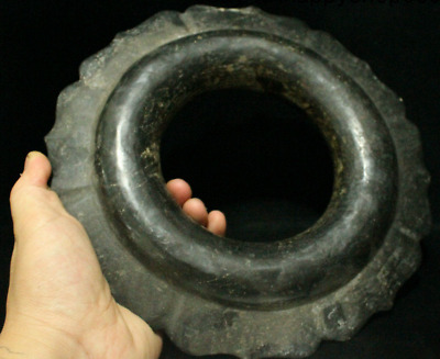 """9"""" China Hong Shan Culture Stone Carved Rare Chieftain An crown Head Hoop Statue"""
